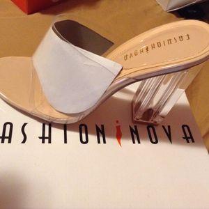 NEW Fashion Nova Nude/Clear heels
